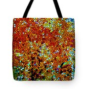 Stained Glass Fall Orange Maple Tree Tote Bag