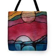 Stained Glass Moonrise Tote Bag