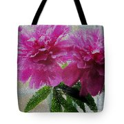 Stained Glass Peonies Tote Bag