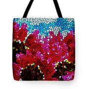 Stained Glass Red Sunflowers Tote Bag