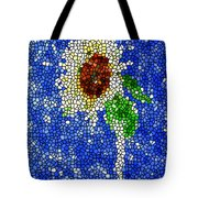 Stained Glass  Sunflower Over The Blue Sky Tote Bag
