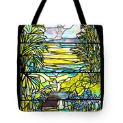 Stained Glass Tiffany Holy City Memorial Window Tote Bag