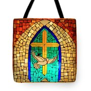 Stained Glass Window At Santuario De Chimayo Tote Bag