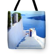 Stairs To The Blue Door Tote Bag