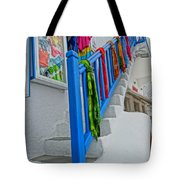 Stairs With Blue Railing In Mykonos Greece Tote Bag