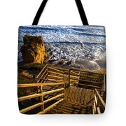 Steps To Blue Ocean And Rocky Beach Tote Bag