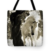 Stallion Dances In Sepia Tote Bag