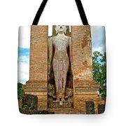 Standing Buddha At Wat Mahathat In 13th Century Sukhothai Historical Park-thailand Tote Bag