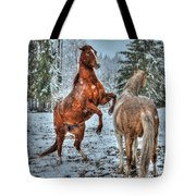 Standing In The Snow Tote Bag by Skye Ryan-Evans