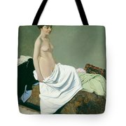 Standing Nude Holding A Gown On Her Knee Tote Bag