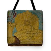 Stangl Pottery Satin Yellow Pattern And Vintage Hat Pins Tote Bag