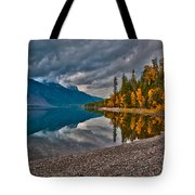 Stanton Mountain With Mount Vaught And Mcpartland Reflected In Lake Mcdonald Tote Bag