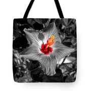 Star Bright Hibiscus Selective Coloring Digital Art Tote Bag