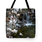 Star Magnolia And Flowing Water Tote Bag
