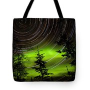 Star Trails And Northern Lights In Sky Over Taiga Tote Bag