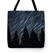 Star Trails And Pine Trees Tote Bag