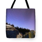 Star Trails Over Rocks In Saguenay-st Tote Bag