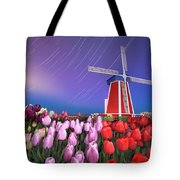 Star Trails Windmill And Tulips Tote Bag