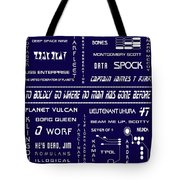 Star Trek Remembered In Navy Blue Tote Bag by Georgia Fowler