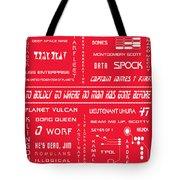 Star Trek Remembered In Red Tote Bag by Georgia Fowler