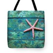 Seashore Peeling Paint - Starfish And Turquoise Tote Bag
