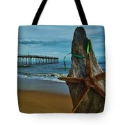Starfish Driftwood And Pier 3 12/20 Tote Bag