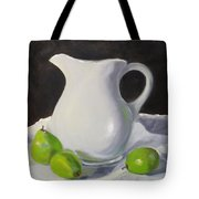 Stark White With Green Tote Bag