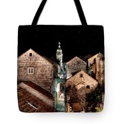 Starry Night Above The Rooftops Of Korcula Tote Bag