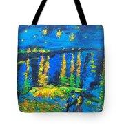 Starry Night Bridge Tote Bag