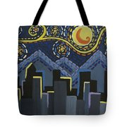 Starry Night Cityscape Tote Bag