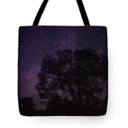 Starry Sky With Silhouetted Oak Tree Tote Bag