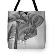 Stars And Stripes And 1 W T C In Black And White Tote Bag