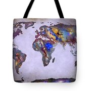 Stars World Map Space Tote Bag