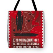 Starschips 02-poststamp - Battlestar Galactica Tote Bag