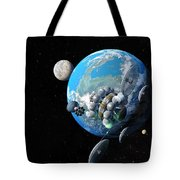 Starship At Alpha Centauri Tote Bag by Don Dixon