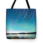 Startrails Aurora Borealis Display Lake Laberge Tote Bag