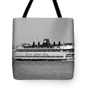Staten Island Ferry In Black And White Tote Bag