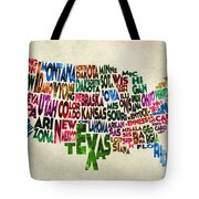 States Of United States Typographic Map - Parchment Style Tote Bag