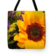 Statice And Sunflower Tote Bag