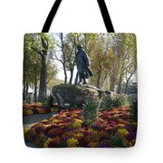 Statue And Flower Bed Across The Street From The Grand Palais Off Of Champs Elysees Tote Bag