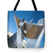 Statue At Charlotte City Street Entrance On North Tryon Tote Bag