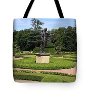 Statue In A Boxwood Garden Tote Bag