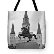 Statue Of Andrew Jackson In Black And White Tote Bag