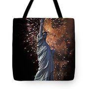 Statue Of Liberty Fireworks Tote Bag
