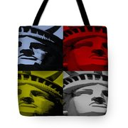 Statue Of Liberty In Quad Colors Tote Bag