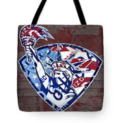 Statue Of Liberty On Stars And Stripes Flag Wood Background Recycled Vintage License Plate Art Tote Bag