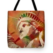 Statue Of Liberty Watercolor Portrait No 1 Tote Bag