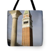 Statue Of Lion Of St. Mark And The San Marco Bell Tower Tote Bag