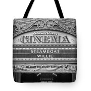 Steam Boat Willie Signage Main Street Disneyland Bw Tote Bag