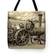Steam Powered Tractor Sepia Tote Bag